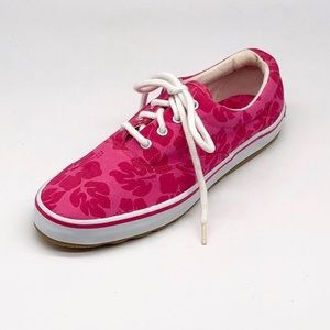 Sperry Pink Flower Pattern Lace Up Sneakers